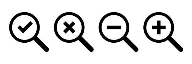 illustrazioni stock, clip art, cartoni animati e icone di tendenza di icone loupe. simboli isolati vettoriali. segno di spunta croce meno più icone. vettore icona lente d'ingrandimento. simbolo della lente d'ingrandimento. controllare il vettore dell'icona. pulsante rotondo. - segno meno