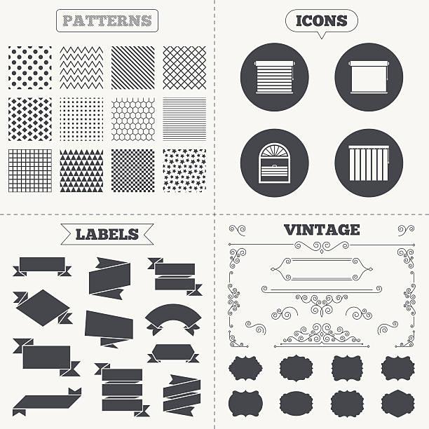 ilustrações de stock, clip art, desenhos animados e ícones de louvers ícones. plisse, vertical e rolos - com portada
