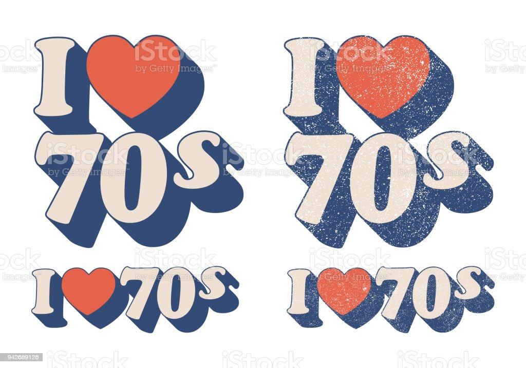 Eu amo os anos 70 - ilustração de arte em vetor
