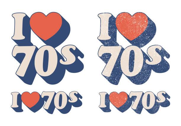 stockillustraties, clipart, cartoons en iconen met ik hou van 70s - seventies