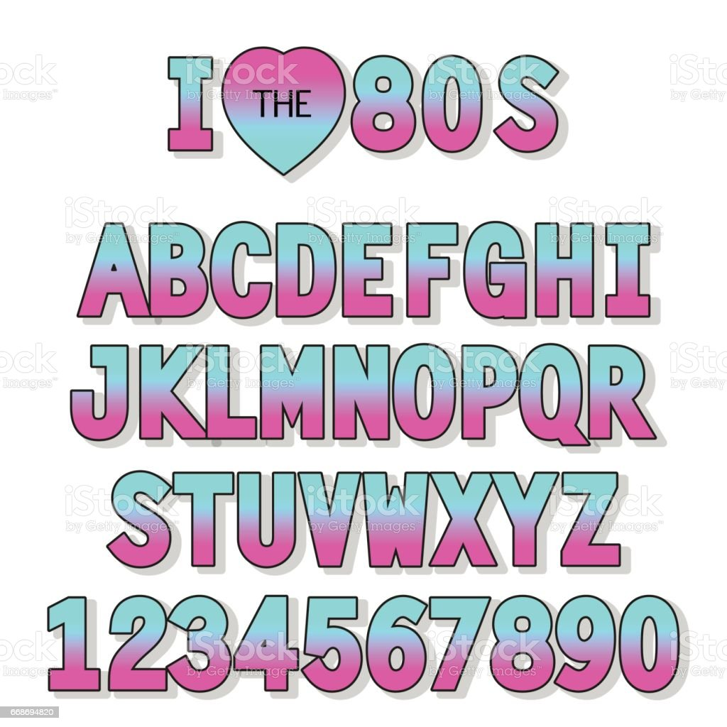 I Love 80s Retro Font In Traditional Colors And Style Stock