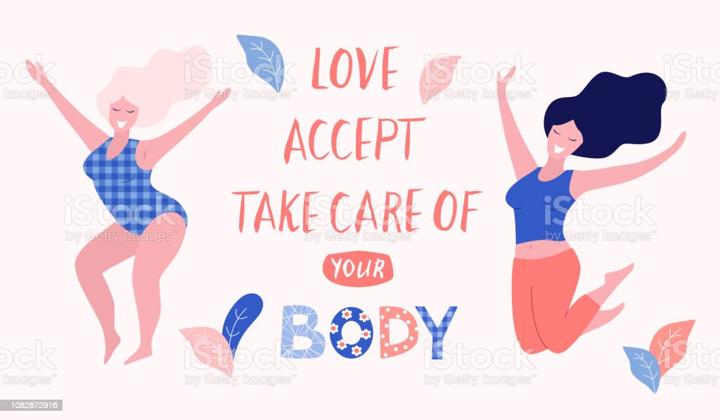 Love Accept Take Care Of Your Body Card Poster Beautiful Plus Size