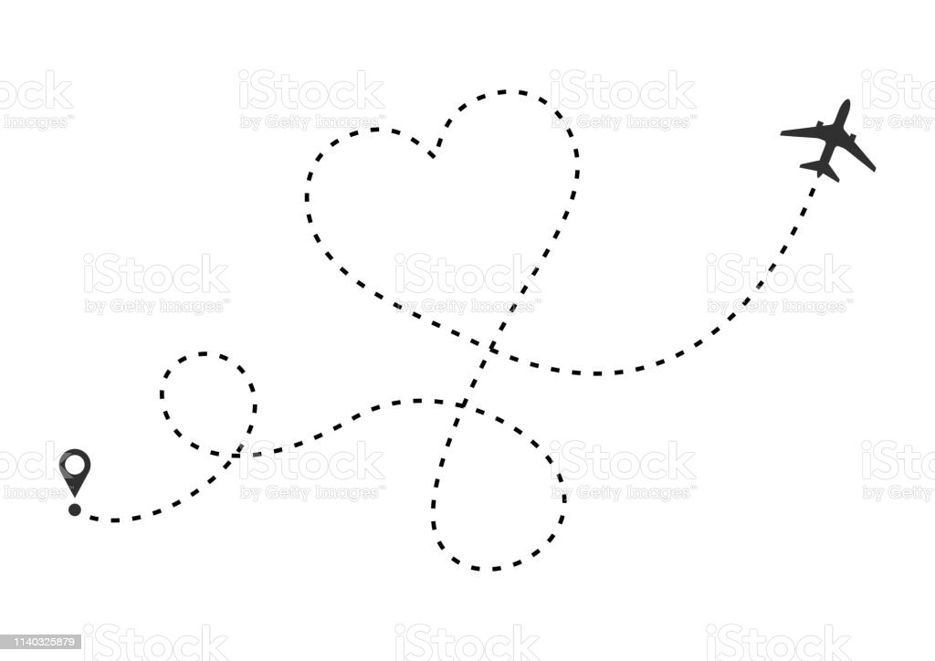 Love airplane route. Heart dashed line trace and plane routes...