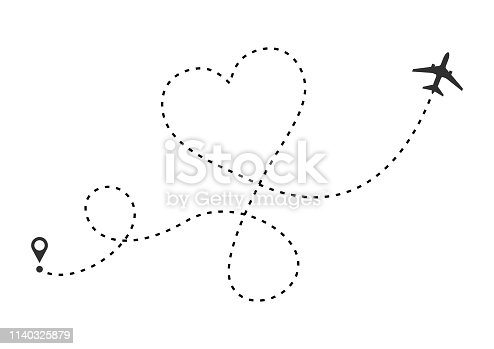 Love airplane route. Heart dashed line trace and plane routes isolated on white background. Romantic wedding travel, Honeymoon trip. Hearted plane path drawing. Vector illustration