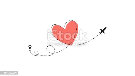 Love airplane route. Heart dashed line trace and plane routes isolated on white background. Romantic wedding travel, Honeymoon trip. Hearted plane path drawing. Vector illustration.
