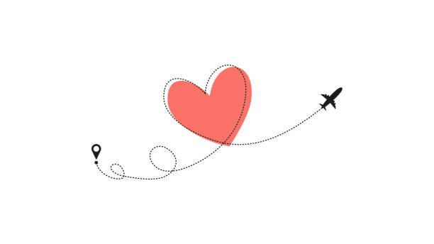 ilustrações de stock, clip art, desenhos animados e ícones de love airplane route. heart dashed line trace and plane routes isolated on white background. romantic wedding travel, honeymoon trip. hearted plane path drawing. vector illustration - love