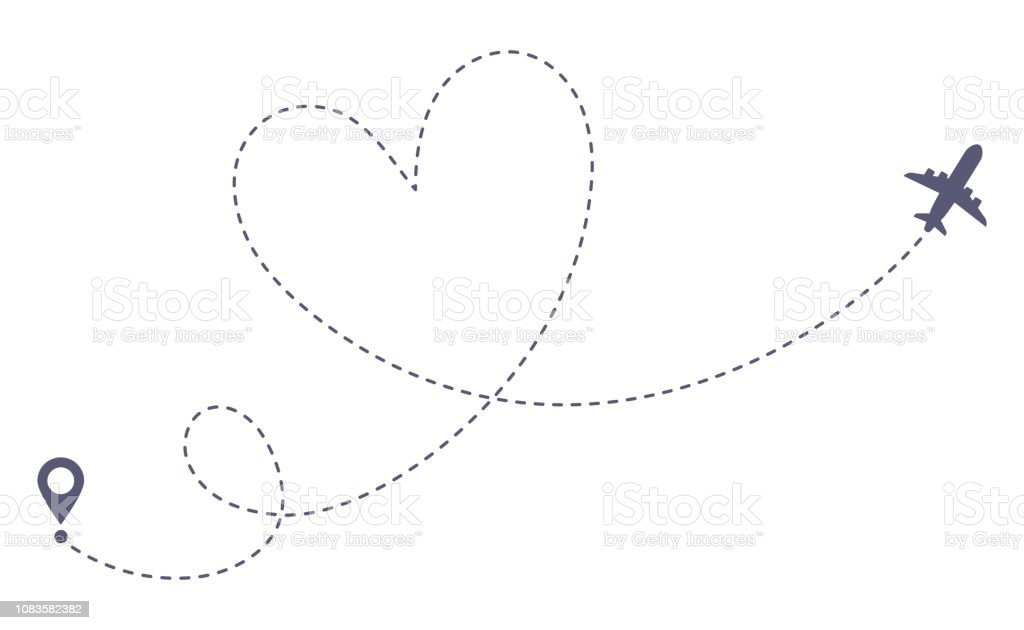 Love airplane route. Romantic travel, heart dashed line trace and...