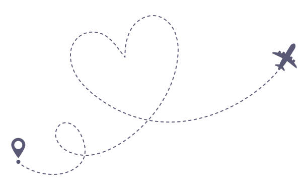 Love airplane route. Romantic travel, heart dashed line trace and plane routes isolated vector illustration Love airplane route. Romantic travel, heart dashed line trace and plane routes. Hearted airplane path, flight air dotted love valentine day drawing isolated vector illustration airport patterns stock illustrations
