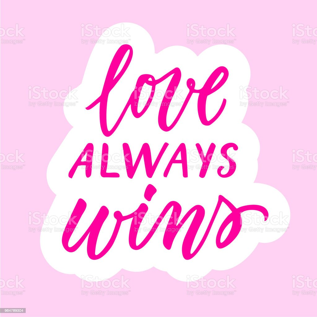 Love always wins calligraphic sticker. royalty-free love always wins calligraphic sticker stock vector art & more images of decoration