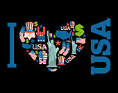 I love America. Sign heart of USA traditional folk characters