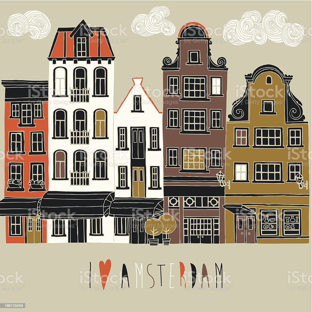 I Love Amsterdam canal houses royalty-free stock vector art