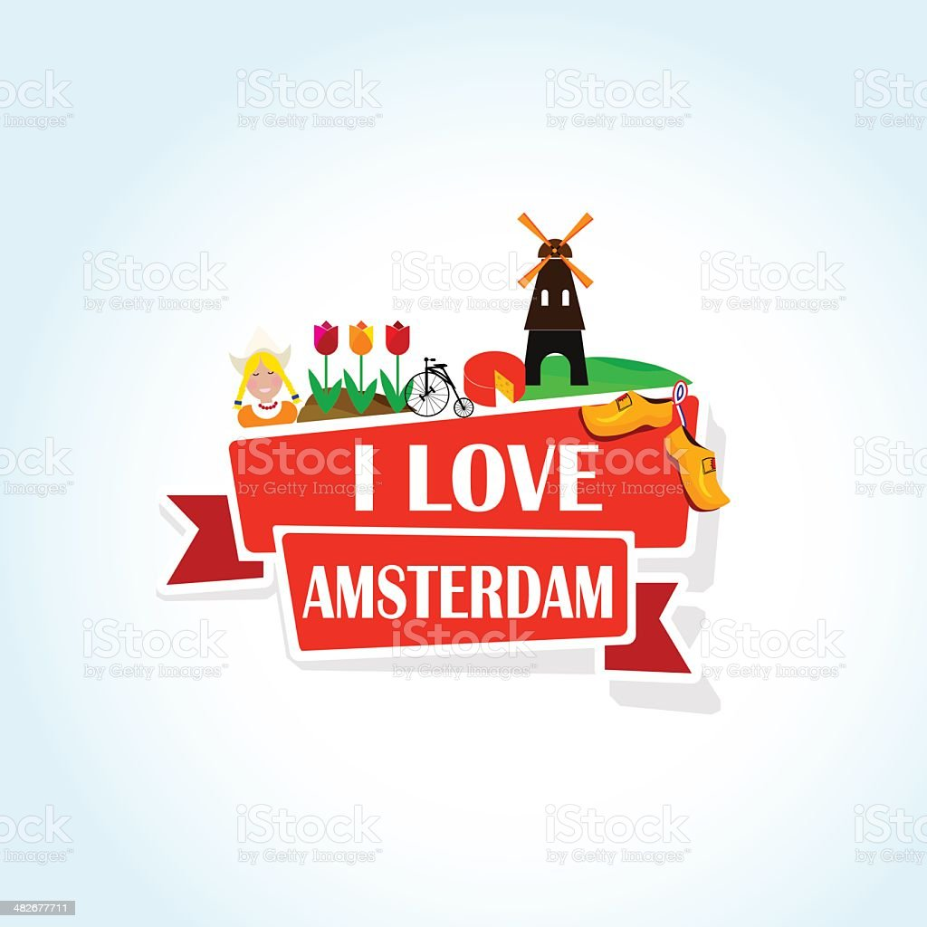 Love Amsterdam vector art illustration