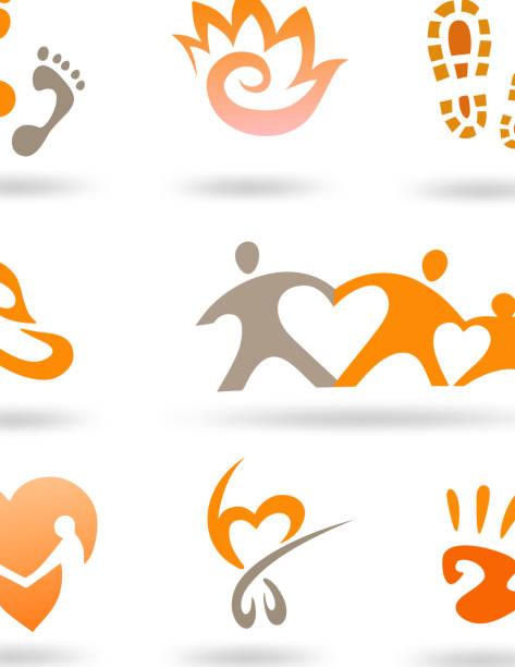 ilustrações de stock, clip art, desenhos animados e ícones de amor e desvelo conjunto de ícones - feet hand