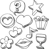 Sketch drawing of love and care icons , with a little bit extruded effect.
