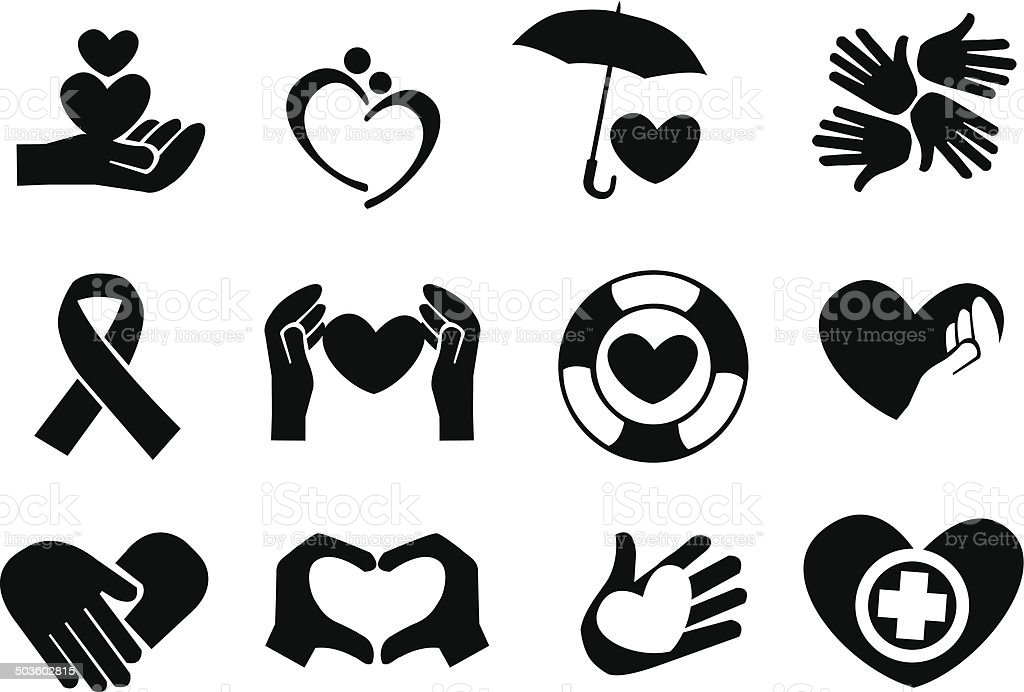 Love and Care Icons vector art illustration