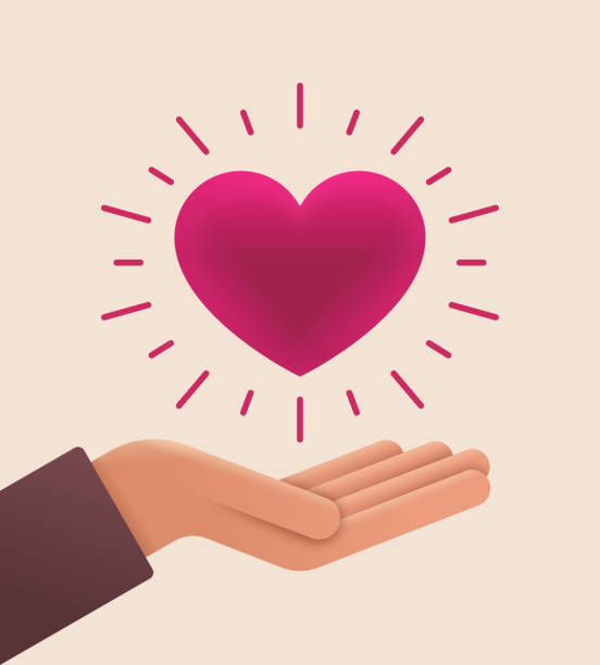 love and care open palm hand - charity and relief work stock illustrations