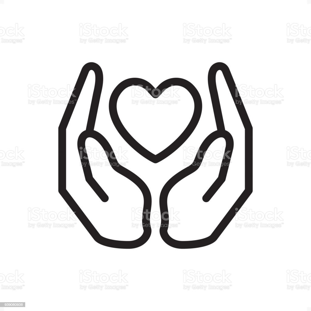 Love and Care - Outline Icon - Pixel Perfect Palms holding heart — Professional outline black and white vector icon. Pixel Perfect Principle - icon designed in 64x64 pixel grid, outline stroke 2 px.  Complete Outline BW board — https://www.istockphoto.com/collaboration/boards/74OULCFeYkmRh_V_l8wKCg Black Color stock vector