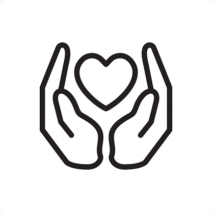 Love And Care Outline Icon Pixel Perfect Stock Illustration - Download Image Now