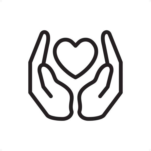ilustraciones, imágenes clip art, dibujos animados e iconos de stock de amor y cuidado - icono - pixel perfect del esquema - protección