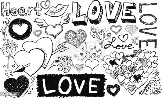 Love and care sketch in black and white