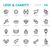 Love & Charity - 20 Outline Style - Single line icons with captions / Set #46 Designed in 48x48pх square, outline stroke 2px.  First row of outline icons contains: Globe, Star, Couple, Heart, Unicorn;  Second row contains: Magic Wand, Lips, Diamond, Wish, Helping Hand;  Third row contains: Ice Cream, Wings & Heart, Cupcake, Volunteer, Rose;  Fourth row contains: Love, Sex Symbols, Care, Key, Luck Gesture.  Complete Signico collection - https://www.istockphoto.com/collaboration/boards/VT_7sDWo80OLh7foVxchBQ