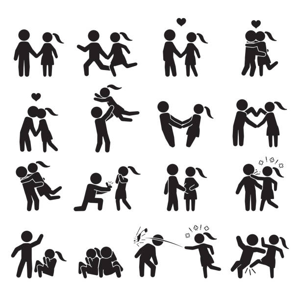 love and couple icon set. vector. - domestic violence stock illustrations