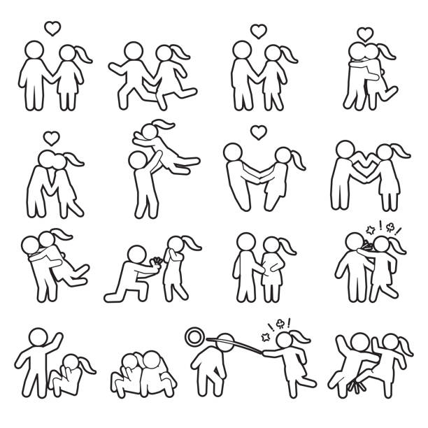 love and couple thin line icon set. love outline icon set. vector. - domestic violence stock illustrations