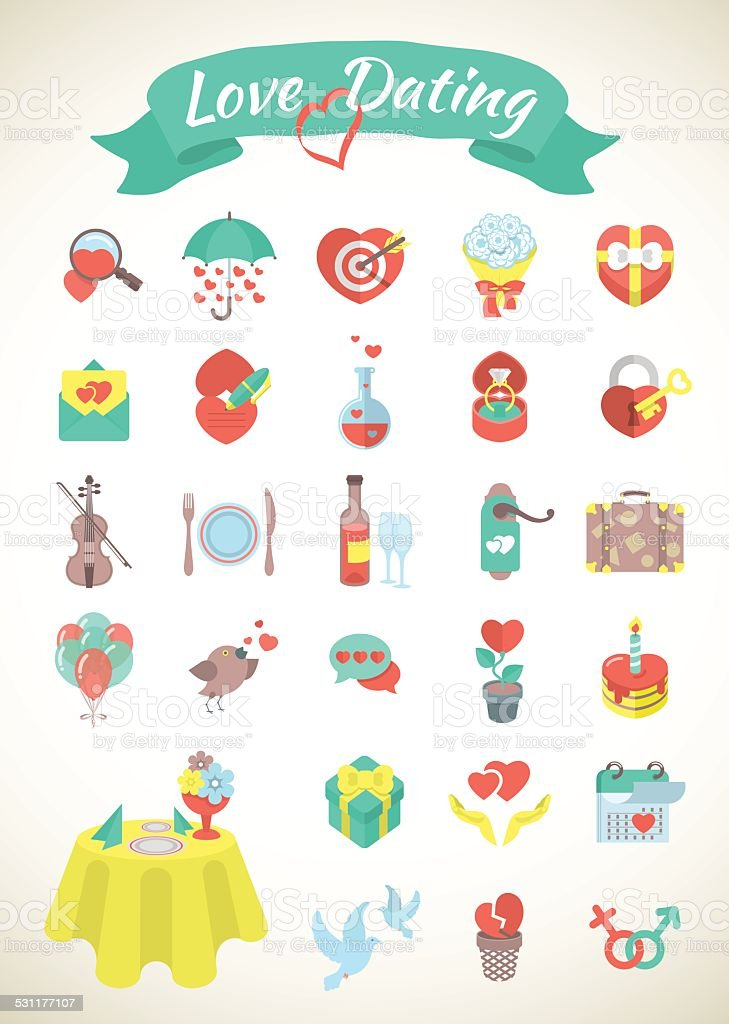 Love and Dating Flat Icons vector art illustration