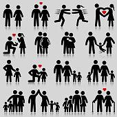 Love and family life black & white icon set