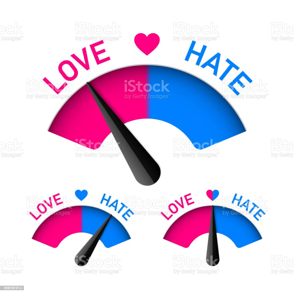 Love and Hate meter vector art illustration