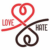 Creative Opposite Concept Design Idea Template for T-Shirt Print Art. Exclusive Typography. Love and Hate (Duality) Minimal Vector Illustration.