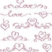 Heart, calligraphic design elements