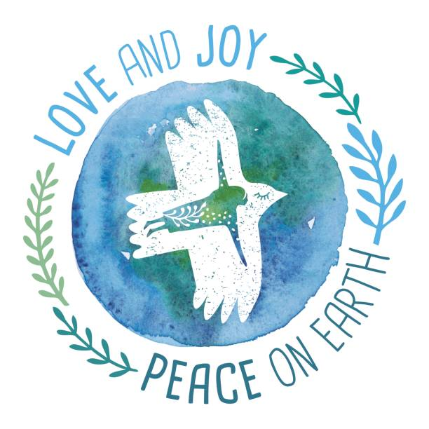 Love And Joy Peace On Earth An original artwork vector illustration of a bird woman flying on planet earth. This inspirational design can be a postcard, invitation or flyer. symbols of peace stock illustrations