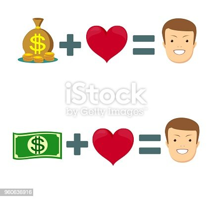 Love and money icon. Balance between heart and money. Vector illustration.