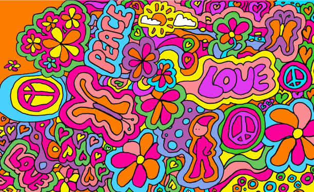 Love and Peace 1960's style Design/Background acid stock illustrations
