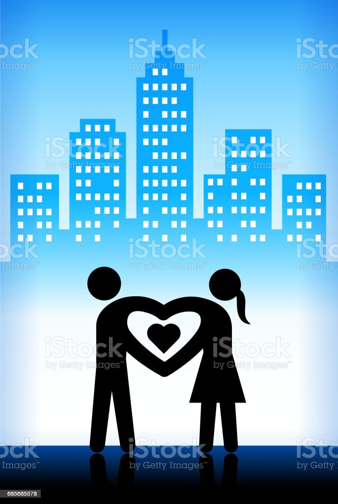 Love and Relationship Blue Vector City Background royalty-free love and relationship blue vector city background stock vector art & more images of adult