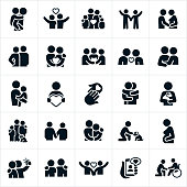 An icon set of families, couples, friends and others showing forth love and concern for one another. The icons include families together, a parent giving a child a piggy back ride, a couple with their arms around each other, two people holding hands, a husband feeling the belly of his pregnant wife, a wedding ceremony, a couple leaning in for a kiss, a mother holding her child in her arms, two people hugging, a pet owner holding their dog, a child petting a dog, a pregnant woman feeling her stomach, two people taking a selfie together, an online relationship and a person reaching out to a disabled person in a wheel chair.