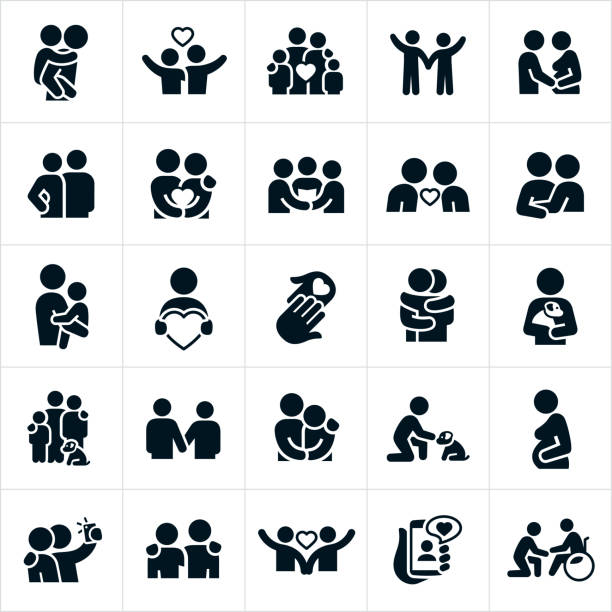 love and relationships icons - couple stock illustrations