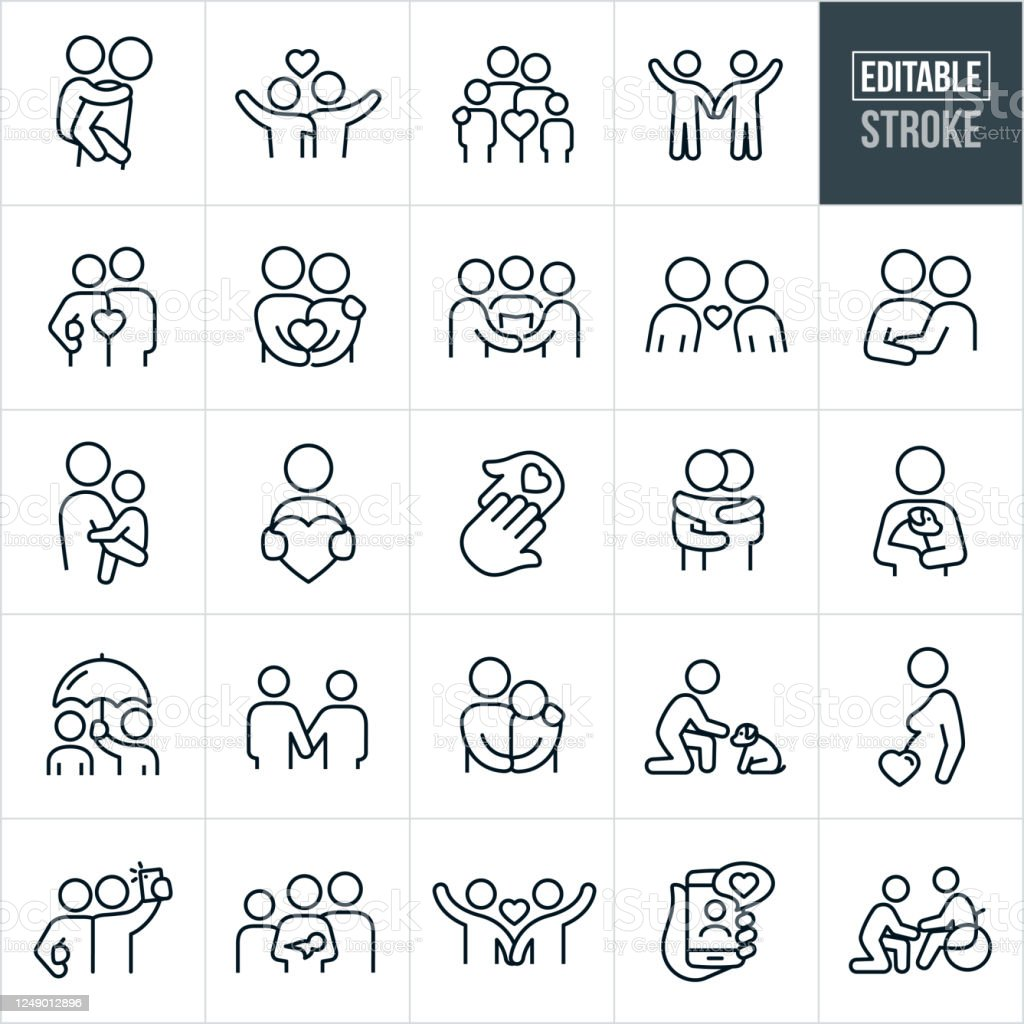 Love and Relationships Thin Line Icons - Editable Stroke A set of love and relationships icons that include editable strokes or outlines using the EPS vector file. The icons include a parent giving a child a piggy back ride, a couple waving while holding each other, a family of four, a couple holding hands, a couple holding a heart, two people getting married, a couple in love, a mother holding her child, a person holding a heart, hands touching, two people hugging, a person holding a pet dog, a person holding an umbrella for another person, two people holding hands, a partner consoling his saddened partner, a child petting a dog, a pregnant woman, a couple taking a selfie, a long distance relationship using smartphone, a person caring for their elderly parent in a wheelchair and others. Adult stock vector
