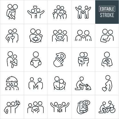 Love and Relationships Thin Line Icons - Editable Stroke
