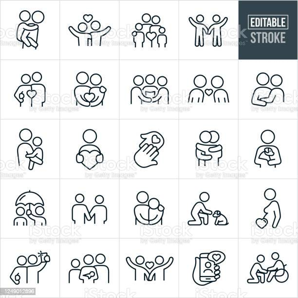 Love And Relationships Thin Line Icons Editable Stroke Stock Illustration - Download Image Now