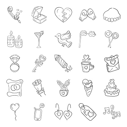 Love And Romance Doodle Icons