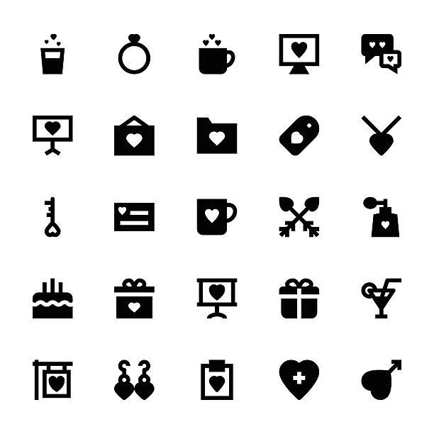 liebe und romantik vektor-icons 3 - glasohrringe stock-grafiken, -clipart, -cartoons und -symbole