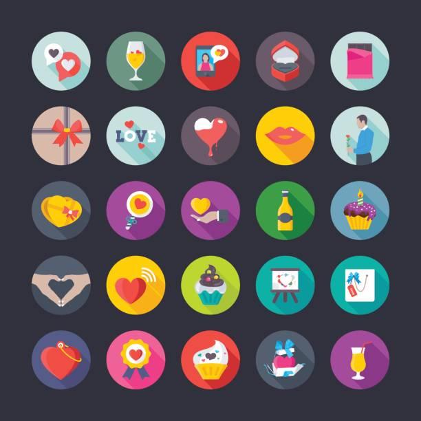 liebe und valentinstag-vektor-icons set 5 - tortenriegel stock-grafiken, -clipart, -cartoons und -symbole
