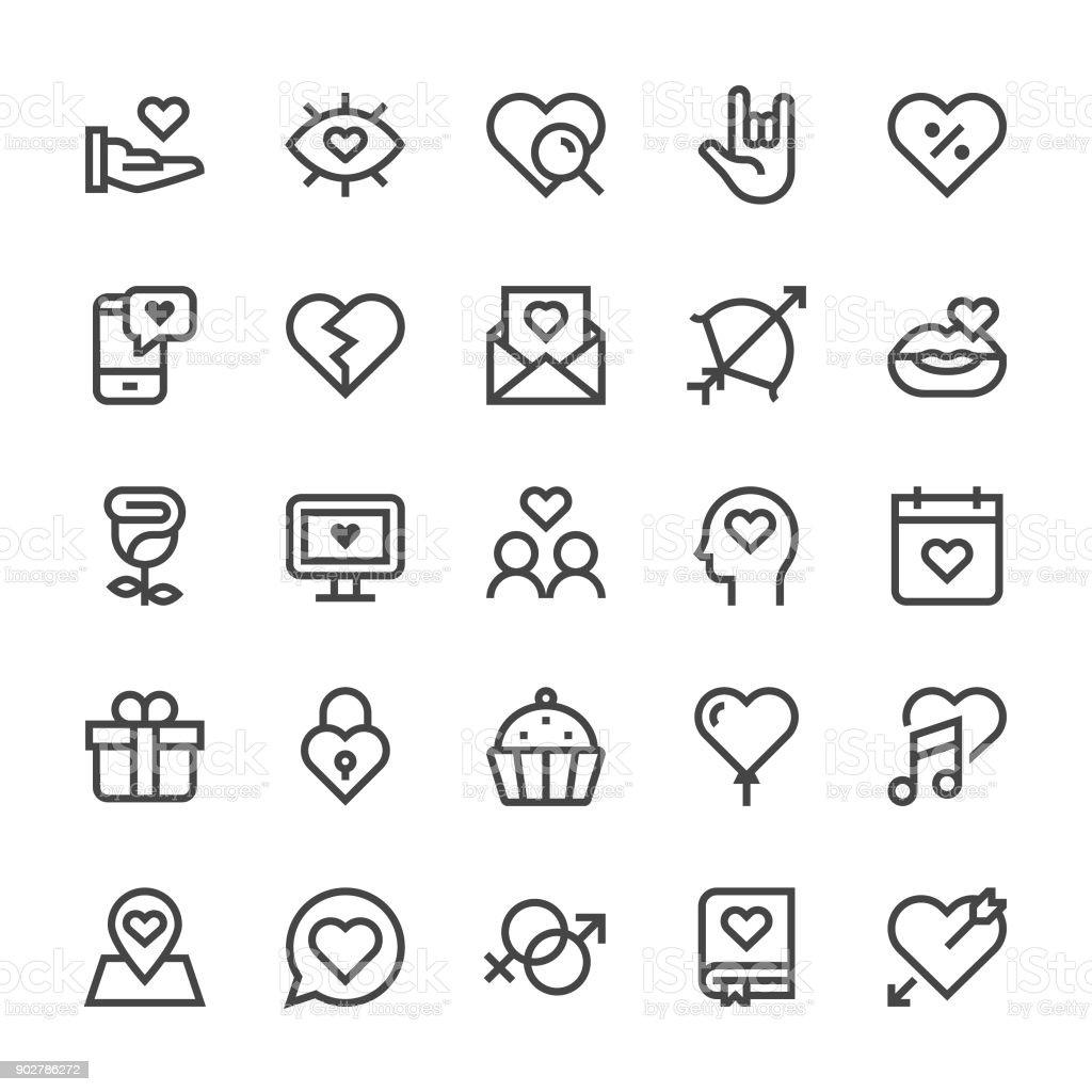 Love and Valentine's day Icons - MediumX Line vector art illustration