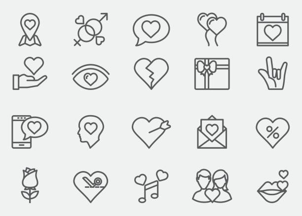stockillustraties, clipart, cartoons en iconen met liefde en valentijnsdag lijn pictogrammen | eps 10 - kussen met de mond