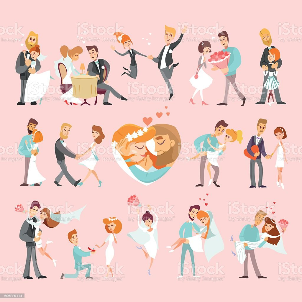 Love and wedding stories collection vector art illustration