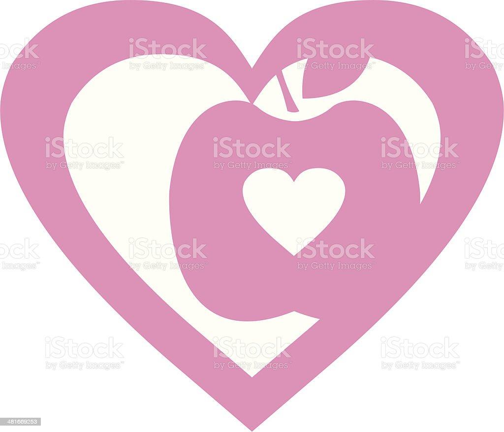 Love Apple Valentine Heart royalty-free stock vector art