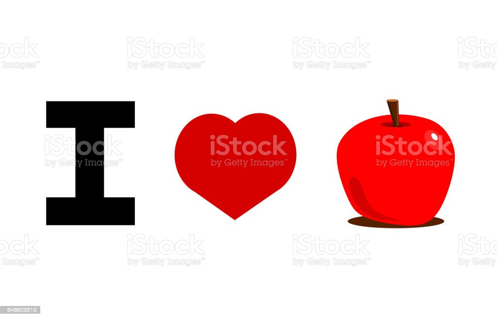 Love Apple Stock Vector Art More Images Of Apple Fruit 948623510