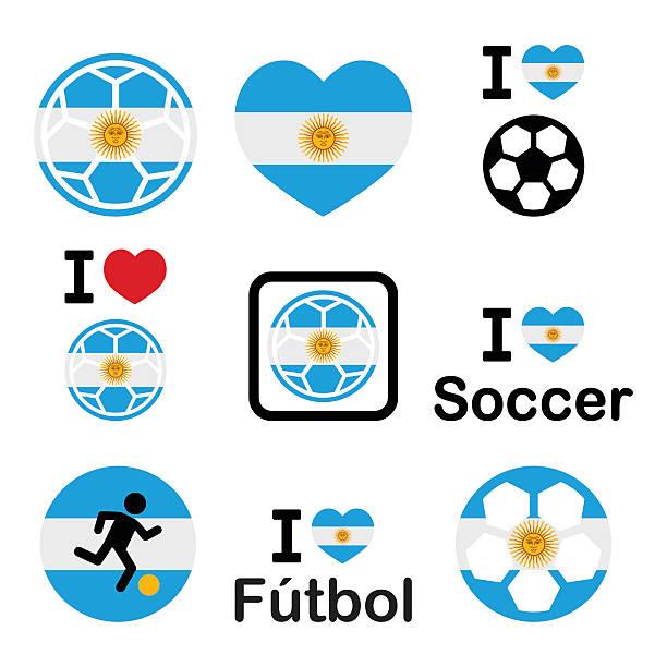 Me encanta del fútbol argentino, conjunto de iconos de fútbol - ilustración de arte vectorial